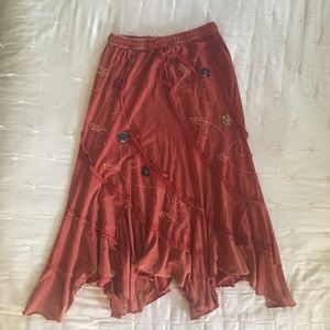 Dark Orange/Red Boho Skirt S/M